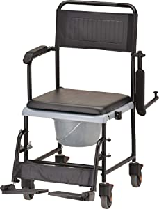 NOVA Medical Products Drop Arm (for Easy User Transfer) Transport Chair Commode, Rolling with Locking Wheels & Removable Padded Seat, Hammertone 1 Count