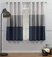Exclusive Home Curtains Chateau Striped Faux Silk Grommet Top Curtain Panels, 54