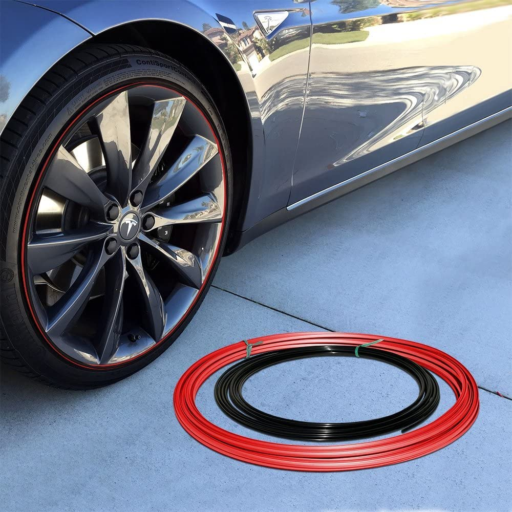 Upgrade Your Auto Wheel Bands Black Insert in Red Track Pinstripe Rim Edge Trim