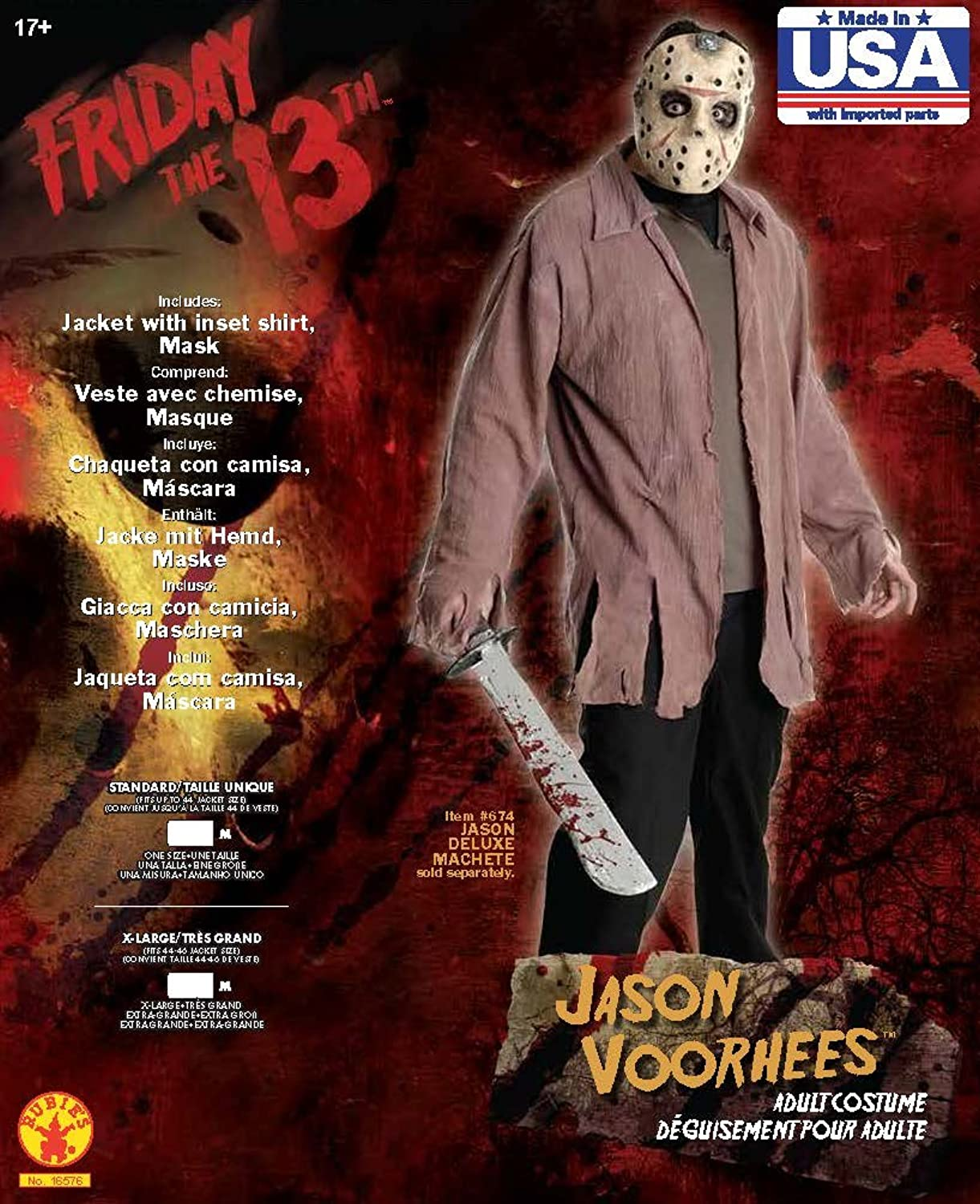 Amazon.com: Friday The 13th - Jason Costume (Mens Adult Costume): Clothing