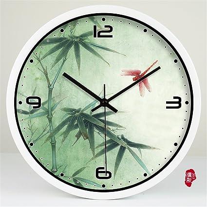V-AFEI Reloj De Pared De Estilo Chino Relojes Decorativos De Bambú Reloj De Pared
