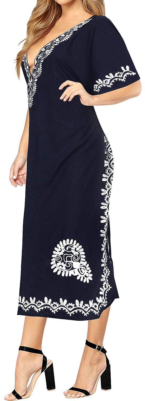 LA LEELA Frauen Damen Rayon Kaftan Tunika Bestickt Kimono freie Größe Lange Maxi Party Kleid für Loungewear Urlaub Nachtwäsche Strand jeden Tag Kleider BB