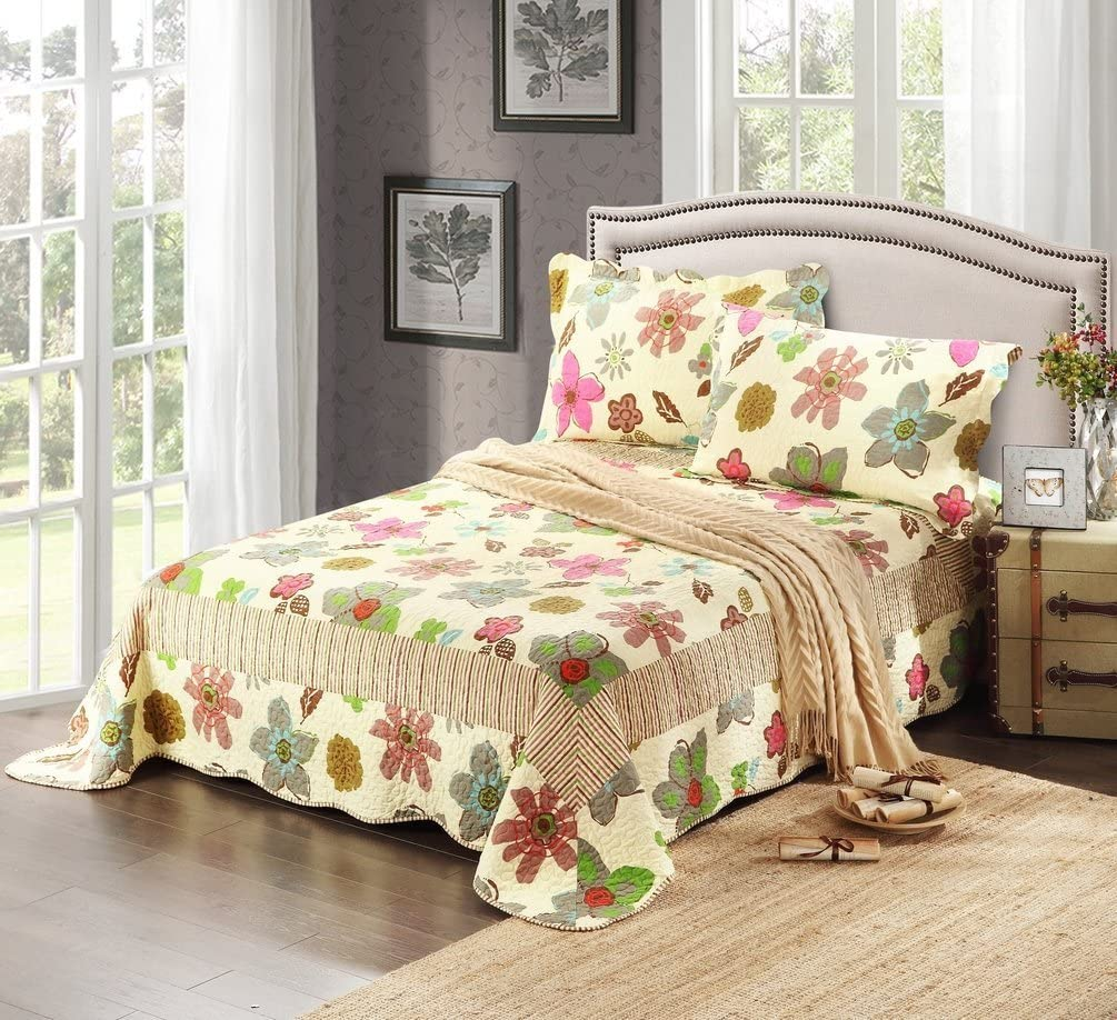 Tache Home Fashion CD 1468-Queen Tache 3 Piece Floral Rainbow Blooms Reversible Bedspread Set, Queen
