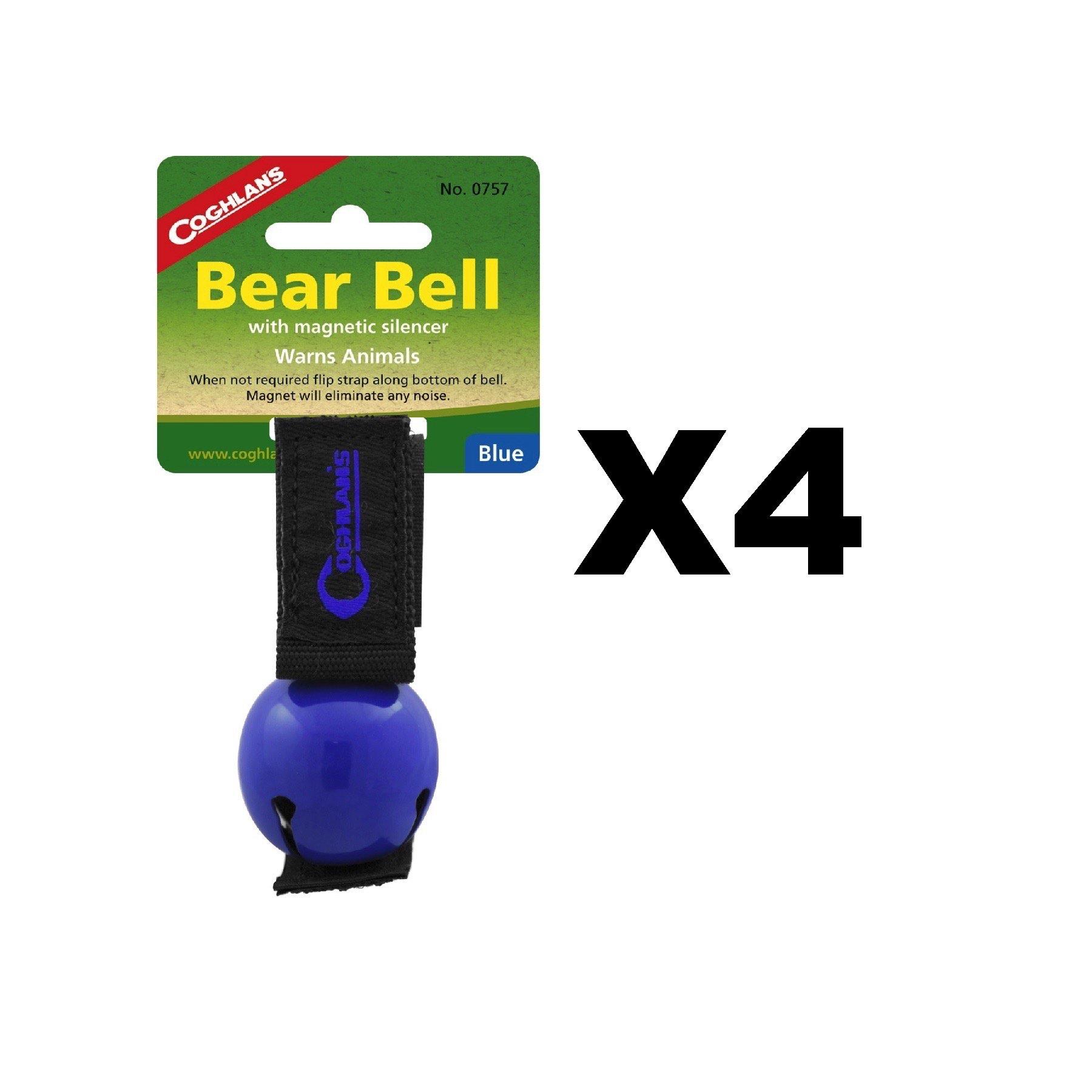 Coghlan's Bear Bell Blue w/Magnetic Silencer & Loop Strap Warns Animals (4-Pack)