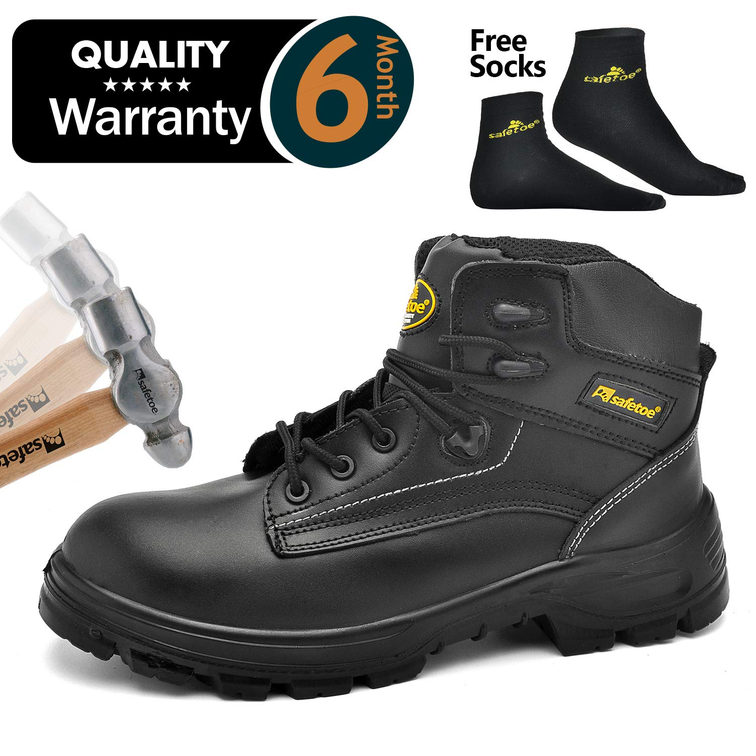 SAFETOE Mens Safety Boots Work Shoes - M8356B Black Waterproof Leather Work Boots Steel Toe Safety Shoes