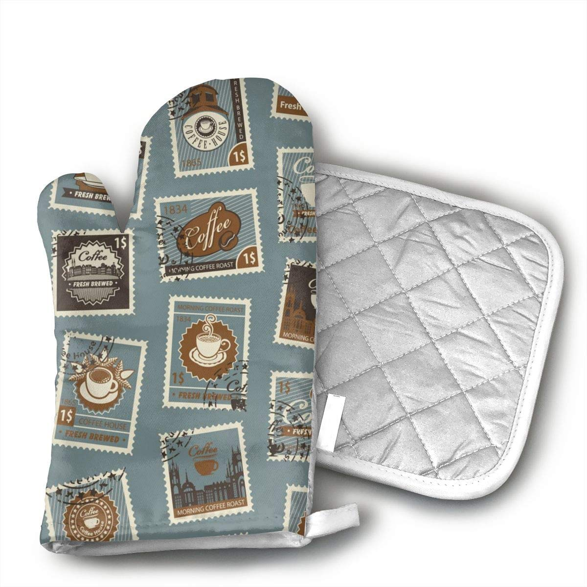 UYRHFS Postage Stamps Coffee Theme Oven Mitts and Pot Holder Kitchen Set with, Heat Resistant, Oven Gloves and Pot Holders 2pcs Set for BBQ Cooking Baking