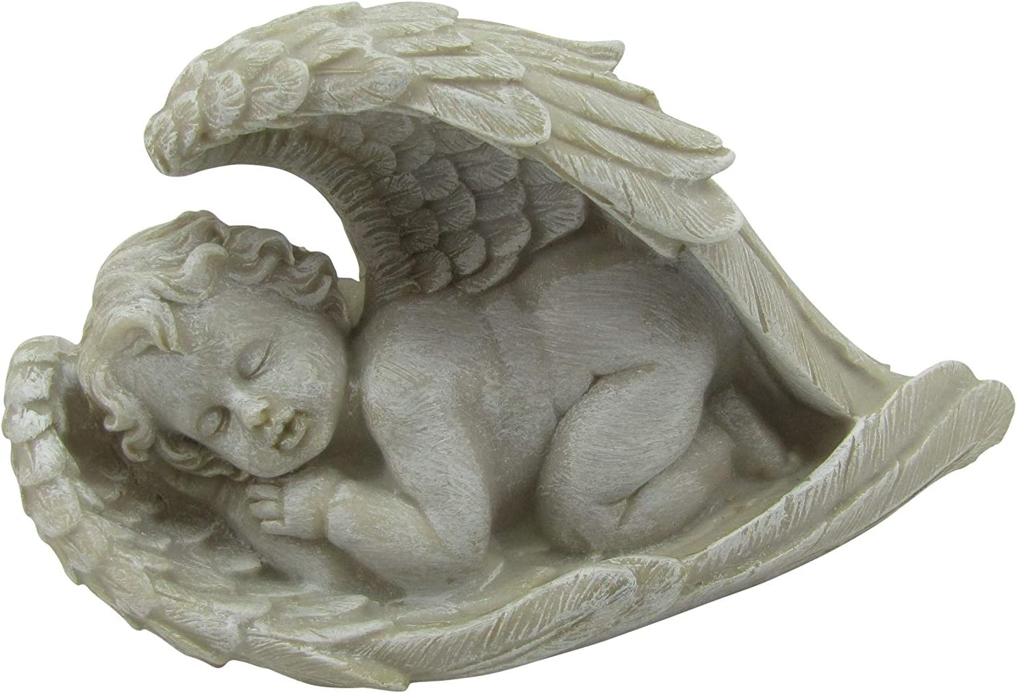 Comfy Hour Resin Cherub Angel Sleeping in Wing Statue Perfect for Home Or Outdoor Garden, Gray