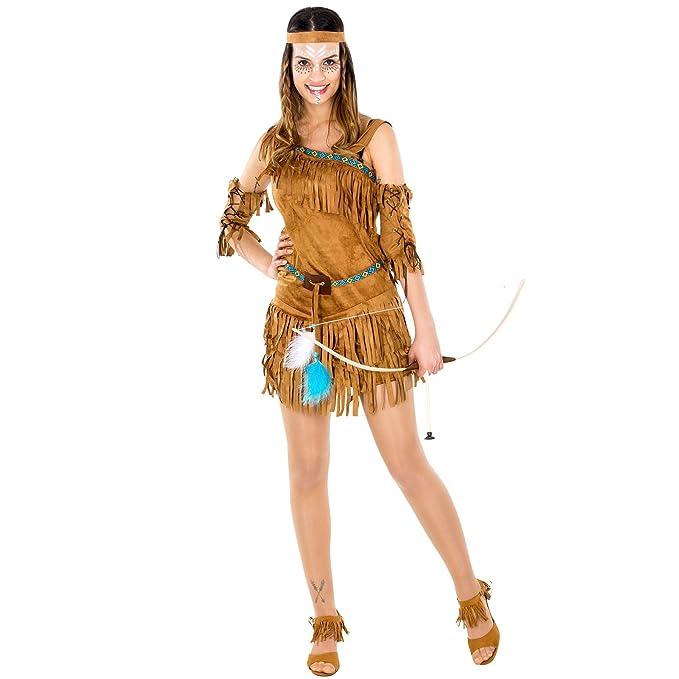 Disfraz de mujer india Cheyenne | Impresionante vestido un solo hombro | incl. cinta de pelo y brazaletes (XXL | No. 300553): Amazon.es: Juguetes y juegos