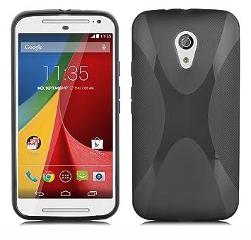 Cadorabo Carcasa para Motorola G2 Funda en Silicona Funda Carcasa Flexible de TPU en X de Line Design Carcasa de Silicona Soft Back Cover Case Bumper ...