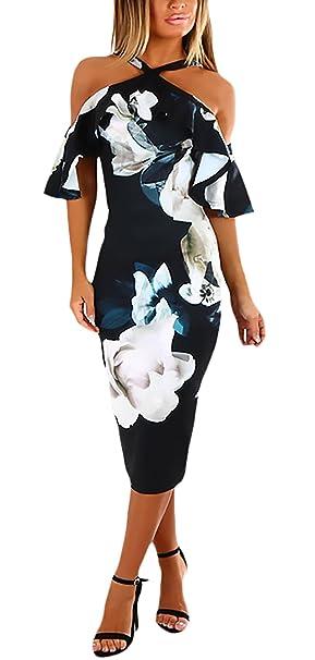Vestidos Fiesta Mujer Elegante Manga Corta Halter Sin Tirantes Flores Vestido Coctel Vestido Ajustado Vestido Midi