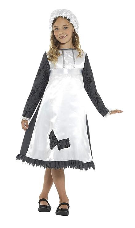 Smiffys Disfraz de sirvienta época Victoriana, Negro y Blanco, con ...