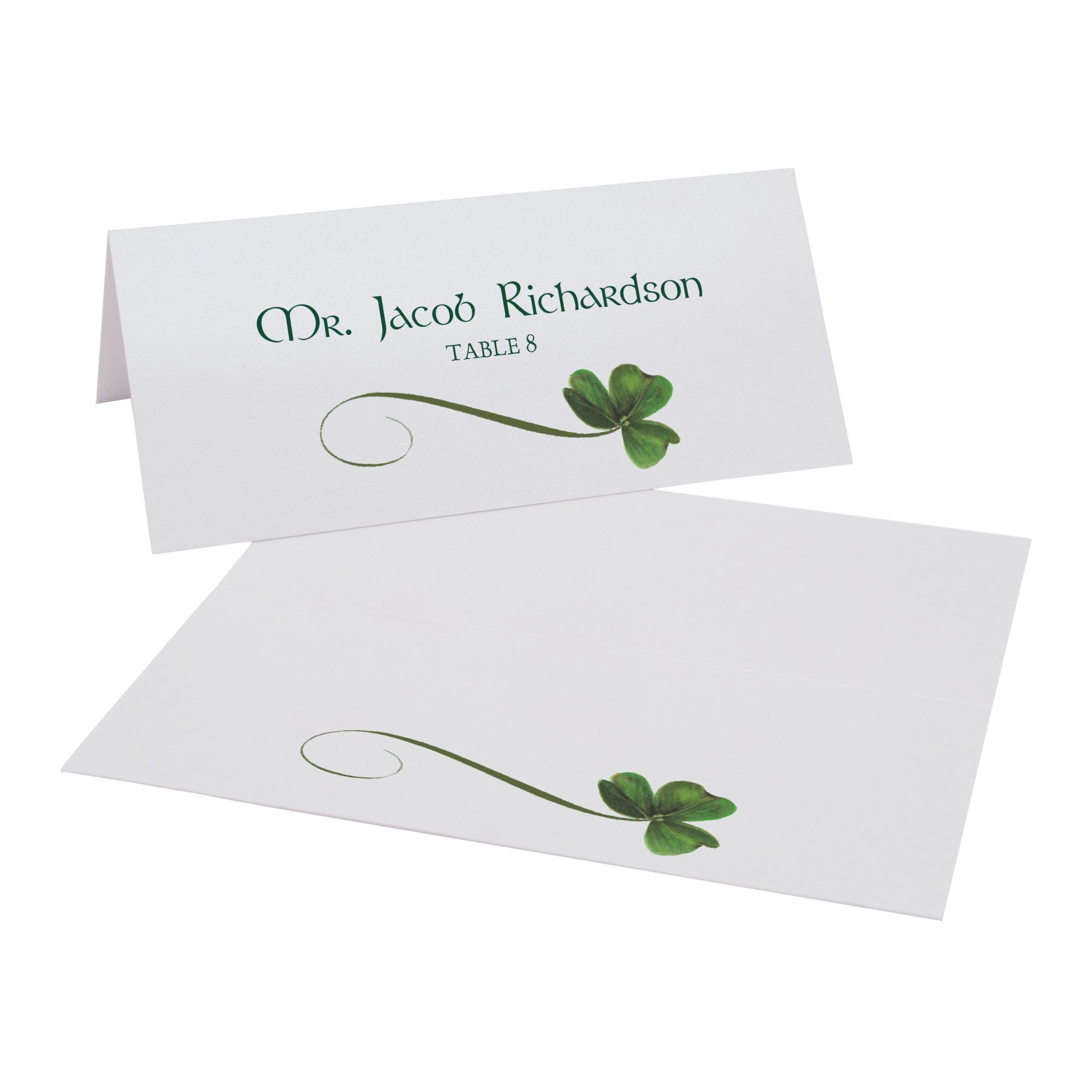 Shamrock Place Cards, Pearl White, Set of 375 by Documents and Designs