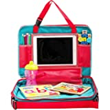 Kids Travel Tray-4 in 1 Toddler Car Seat Travel Tray  Portable Snack & Play Lap Table  Detachable Backseat Toy Organizer W/Tablet Holder,Cup Holder, Mesh Pockets  Carry Bag & Free Drawstring Backpack