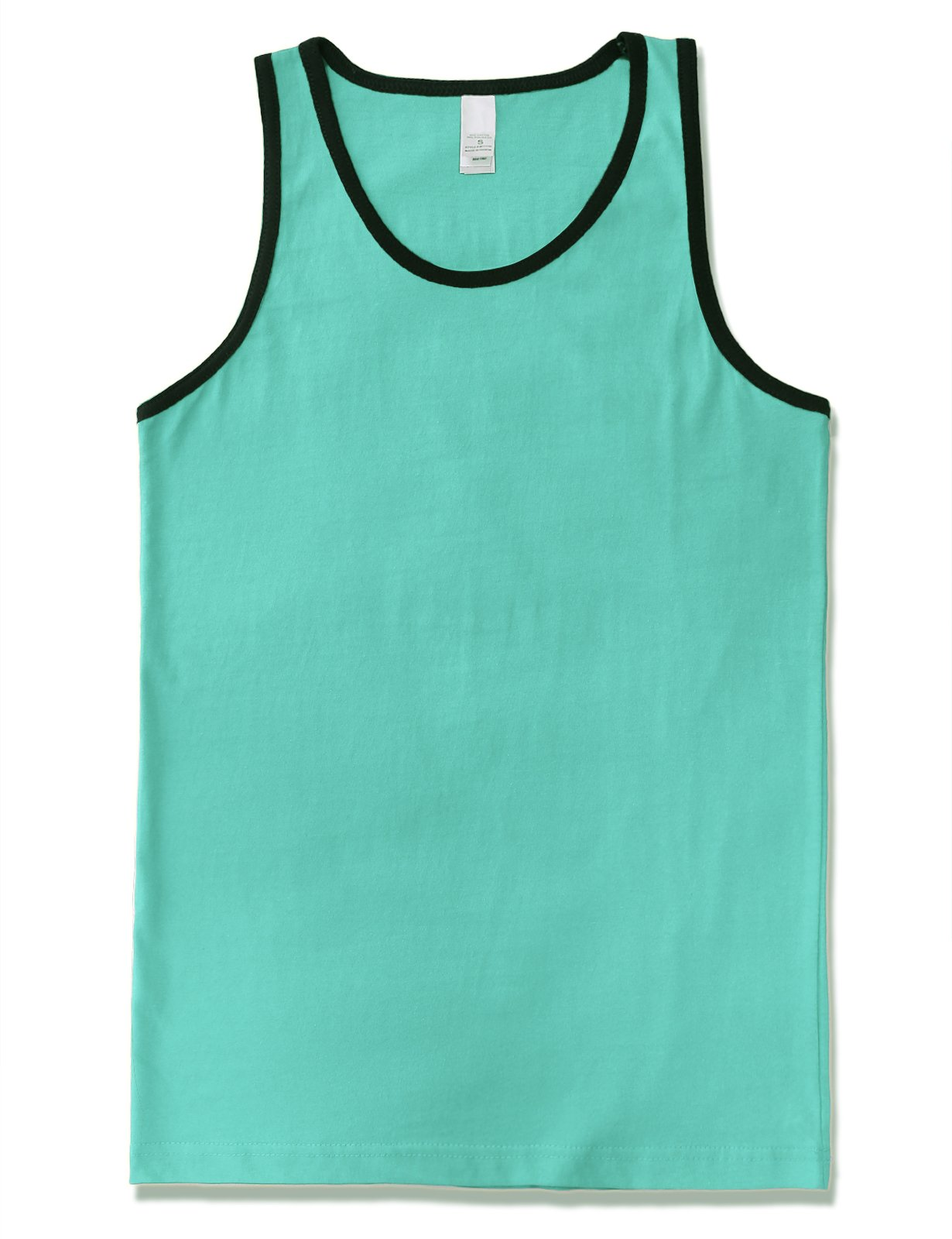JD Apparel Men's Basic Athletic Jersey Tank Top Contrast Binding L Aqua Black TT13152 by JD Apparel