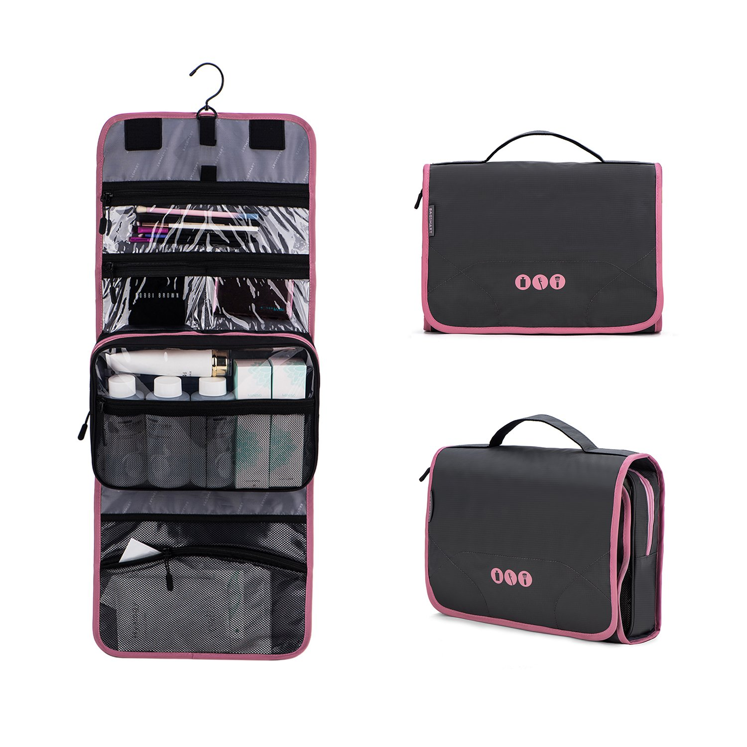 BAGSMART Hanging Travel Toiletry Bag Carry-on Makeup Organizer Folding Cosmetic Bag for Women and Men, Grey+ Pink