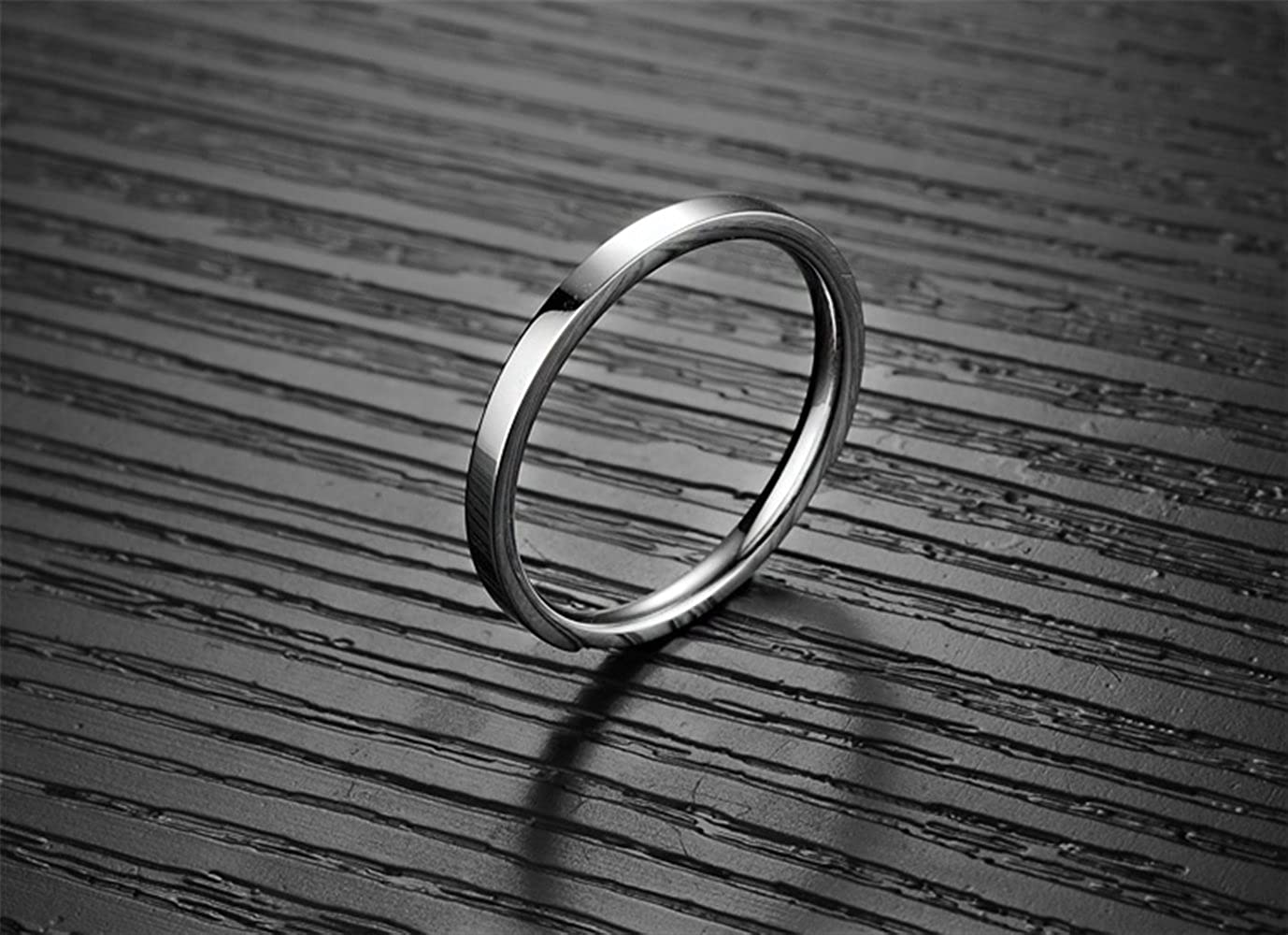 Fashion Month Women 2mm Titanium Stainless Steel Cubic Zirconia CZ Inlay White Gold Ring Wedding Engagement Silver Band