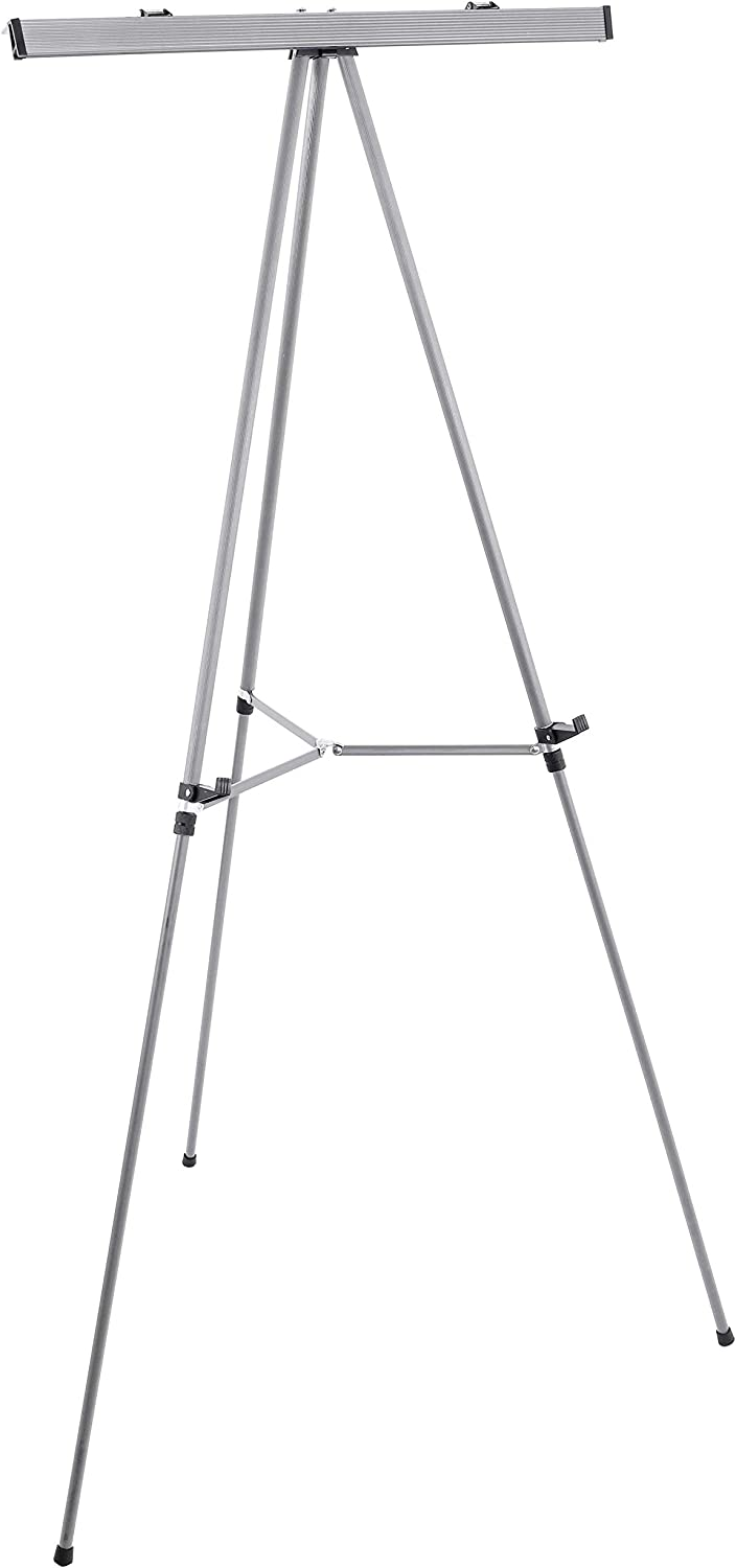 """U.S. Art Supply 66"""" High Classroom Silver Aluminum Flipchart Display Easel and Presentation Stand - Large Adjustable Floor and Tabletop Portable Tripod, Holds 25 lbs - Holds Writing Pads, Poster Board"""