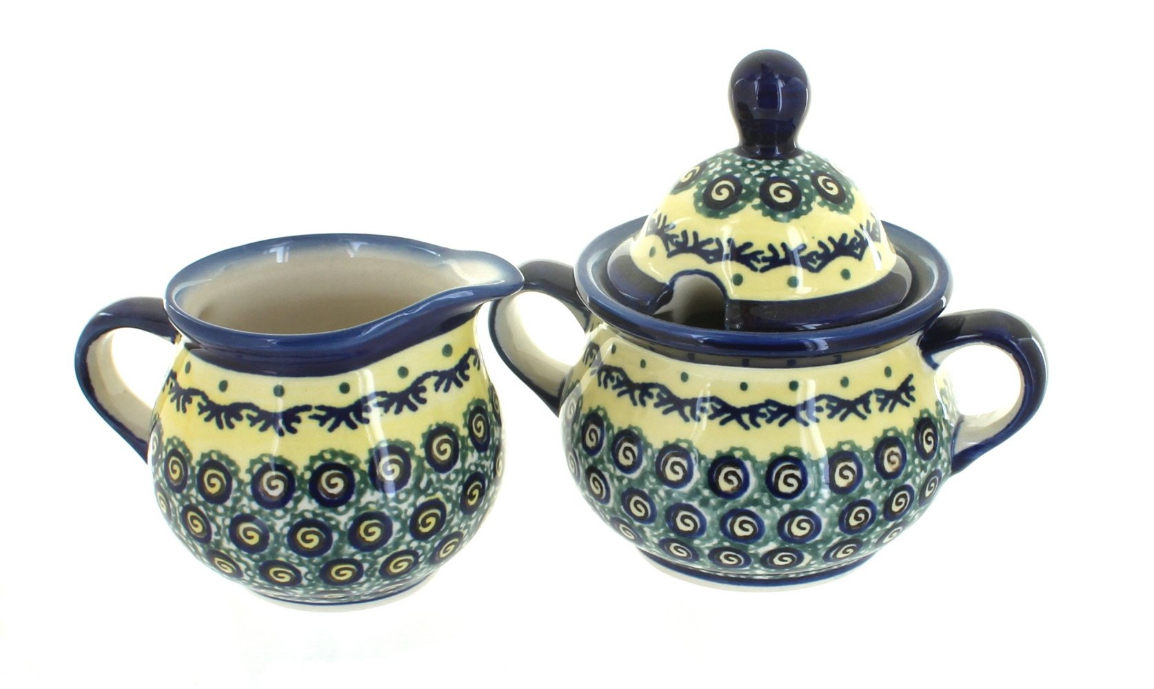 Polish pottery renaissance sugar & creamer