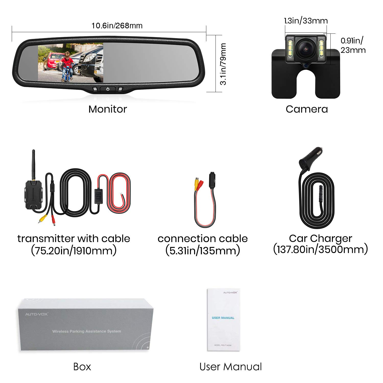 modelo T1400W impermeable nivel IP68 luz LED para matr/ícula visi/ón nocturna C/ámara trasera inal/ámbrica para coche monitor FHD en el espejo retrovisor de la marca AUTOVOX