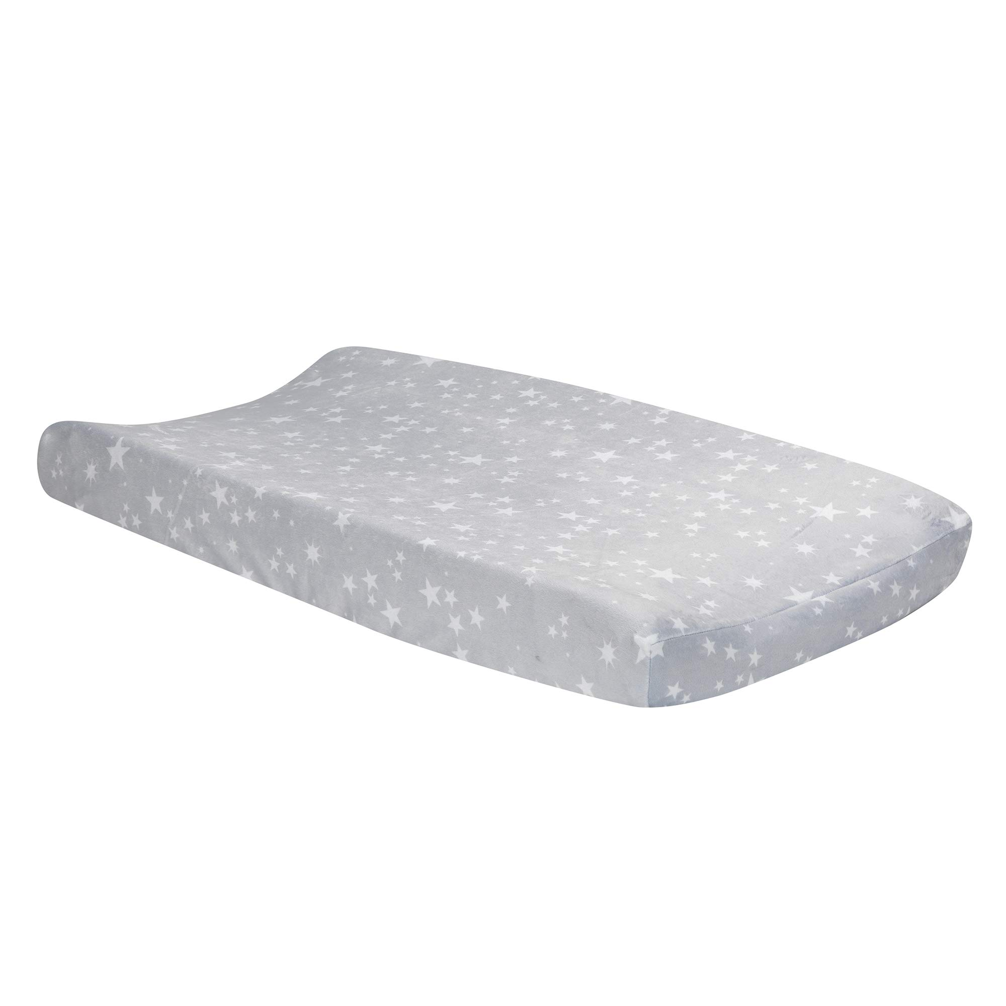 Lambs & Ivy Milky Way Gray/White Stars Minky Baby Changing Pad Cover by Lambs & Ivy