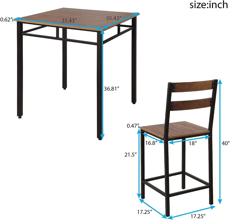 Rhomtree - Mesa de Comedor de Altura y 4 sillas de Bar, Juego de ...