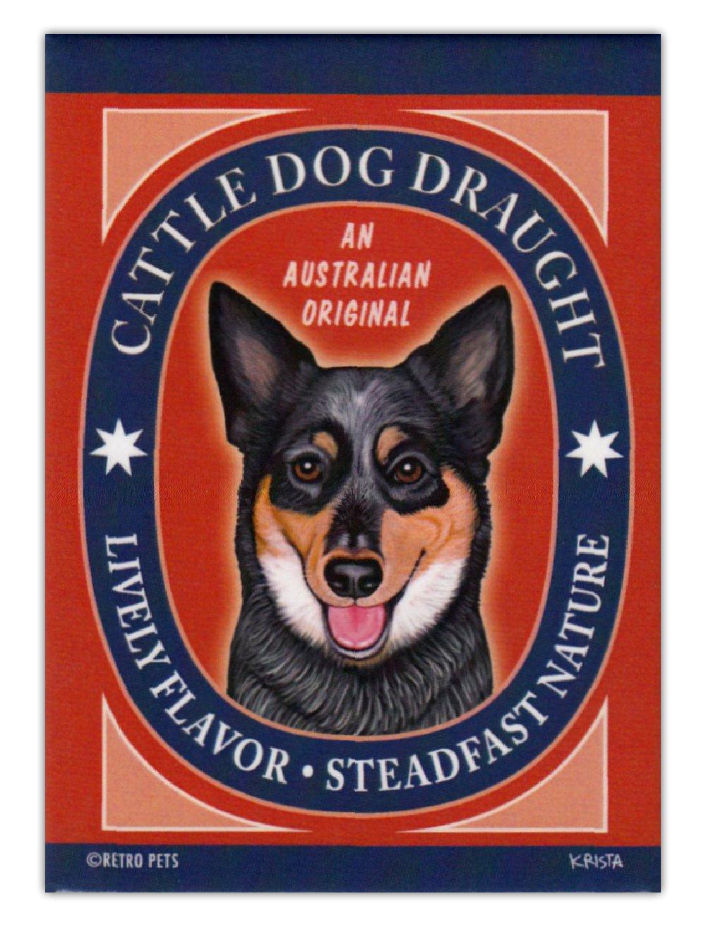 Australian Cattle Dog Draught Art Retro Dogs Refrigerator Magnets
