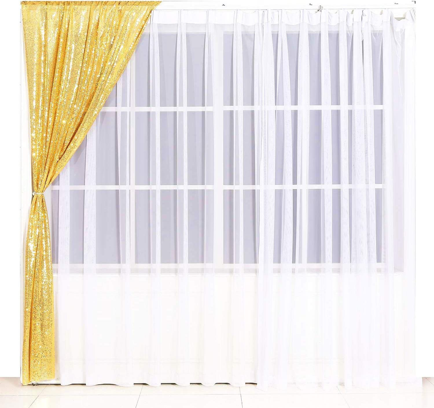 Gold Satin Poise3EHome 2 Panels 2FtX8Ft Not See Through Sequin Photography Backdrop Glittery Thick Satin Wedding Party Sequin Curtain