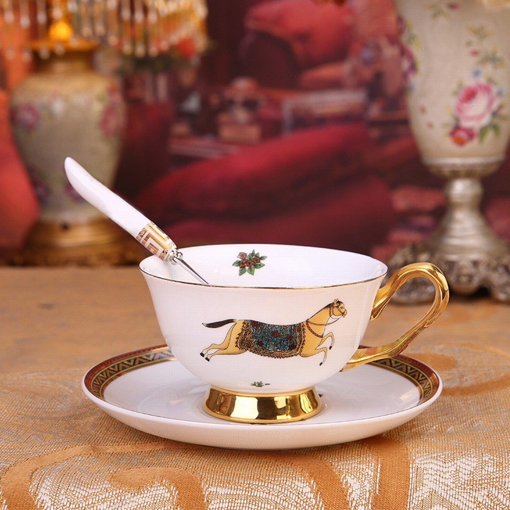 WI High-End European Coffee Cup Small Luxury Gold Bone China English Afternoon Tea Tea Set Home Red Tea Cup,C