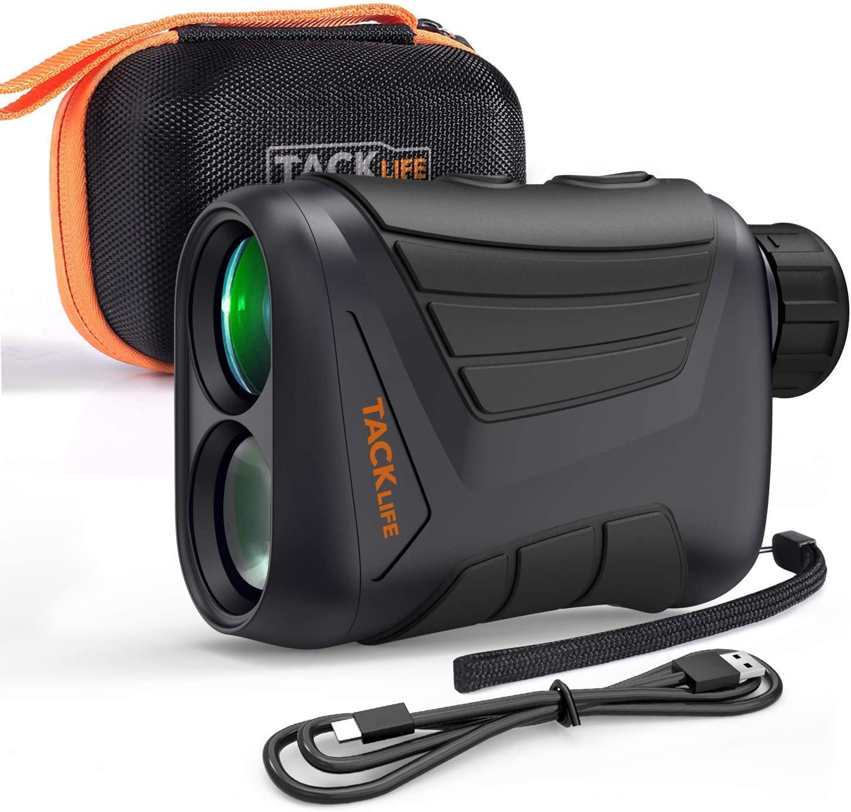 TACKLIFE Telémetro de Golf 800m/875yd, Telémetro Laser de Aumento de 7x24 mm, con Pin/Range/Speed/Scanning Model, Carga USB, Bolsa de Protectora, para Golf, Caza, Senderismo - MLR01