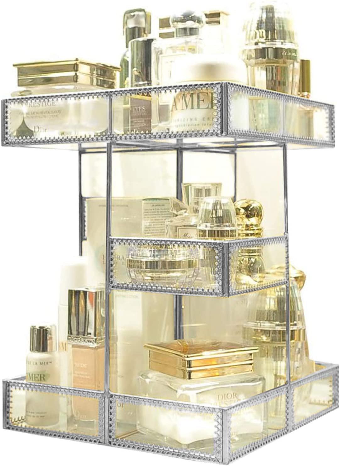 360 Degree Rotation Visible Skincare Organizer Antique Countertop Vanity Cosmetic Storage Mirror Glass Makeup Holder,Spin Large Capacity Storage for Brushes Lipsticks Skincare Toner (Silver)
