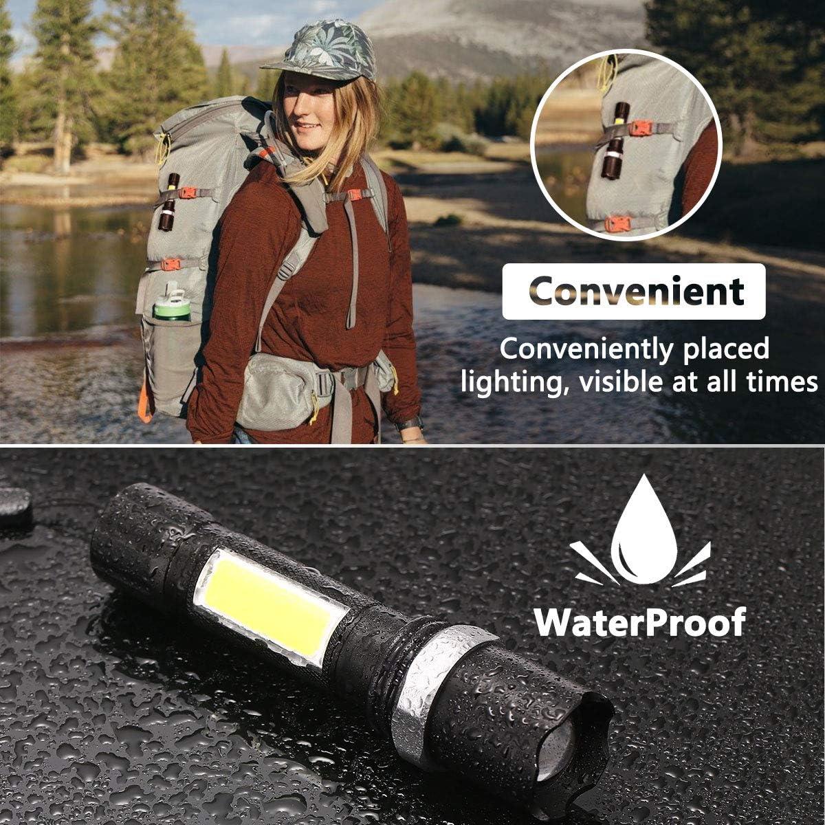 600 Lumen Taschenlampe mit 4 Modi und Lange Arbeitzeit,IPX5 Wasserdicht Zoombar f/ür Outdoor,Stromausf/älle,Notf/älle,Enth/ält USB-Kabel Fulighture Taschenlampe LED,USB Wiederaufladbare Taschenlampen