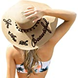 HooYL Beach Sun Hat - Floppy Summer Cap Straw Foldable Wide Brim Adjustable Hat with Ribbon Knot with Words for Women Grils