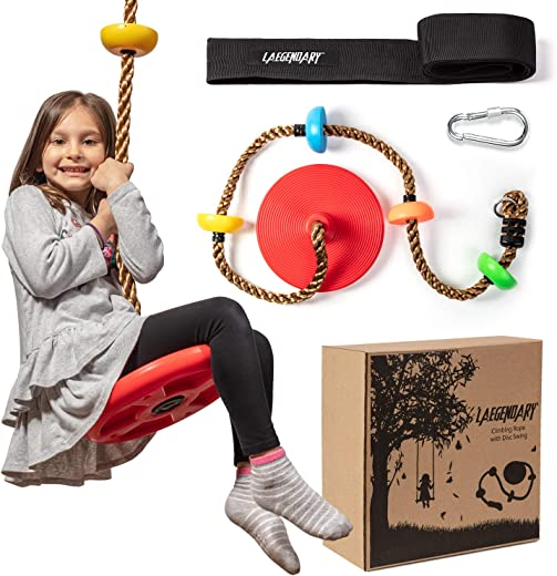 Climbing Rope Tree Swing with Platforms and Disc Swings Seat - Playground Swingset Accessories Outdoor for Kids - Trees House Tire Saucer Swing Outside Playset Toys - Carabiner and 4 Ft Tree Strap