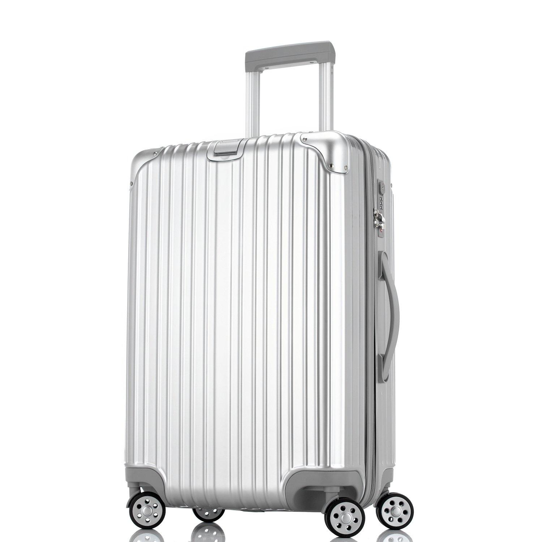 Unitravel スーツケース 超軽量【1年修理保証】 キャリーケース TSAロック ファスナー開閉式 キャリーバッグ 旅行 出張 静音8輪 s型 機内持込 B072LJTSFV L (24)型 シルバー シルバー L (24)型