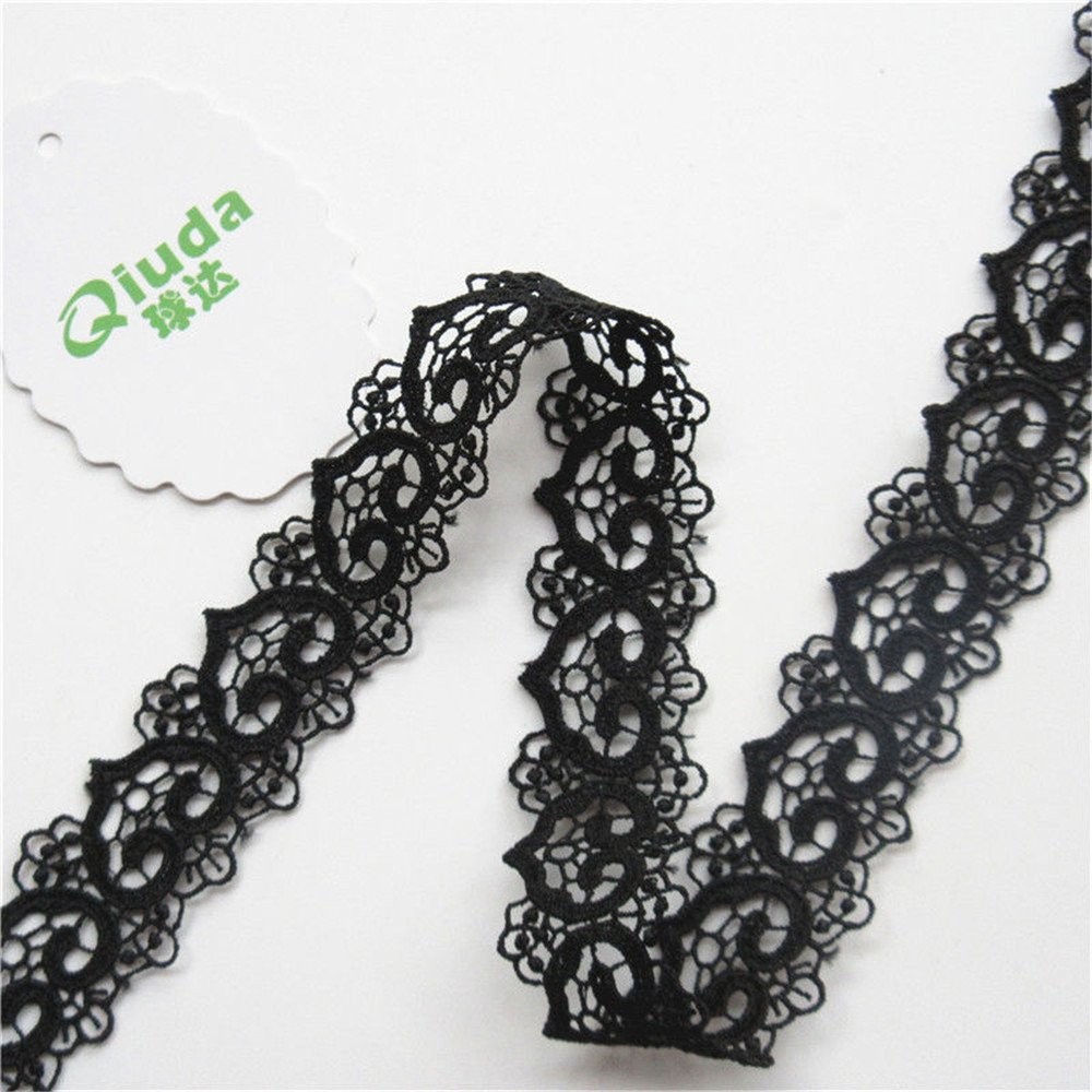 Qiuda 2 Yard Heart Motifs Hollow Band Lace Trim Ribbon 2.6 cm Width Vintage Style Black Edging Trimmings Fabric Embroidered Applique Sewing Craft Wedding Bridal Dress DIY Party Clothes Embroidery