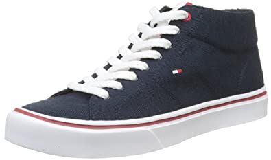 Mens Lightweight Knit Mid Cut Low-Top Sneakers, Grey/White Tommy Hilfiger