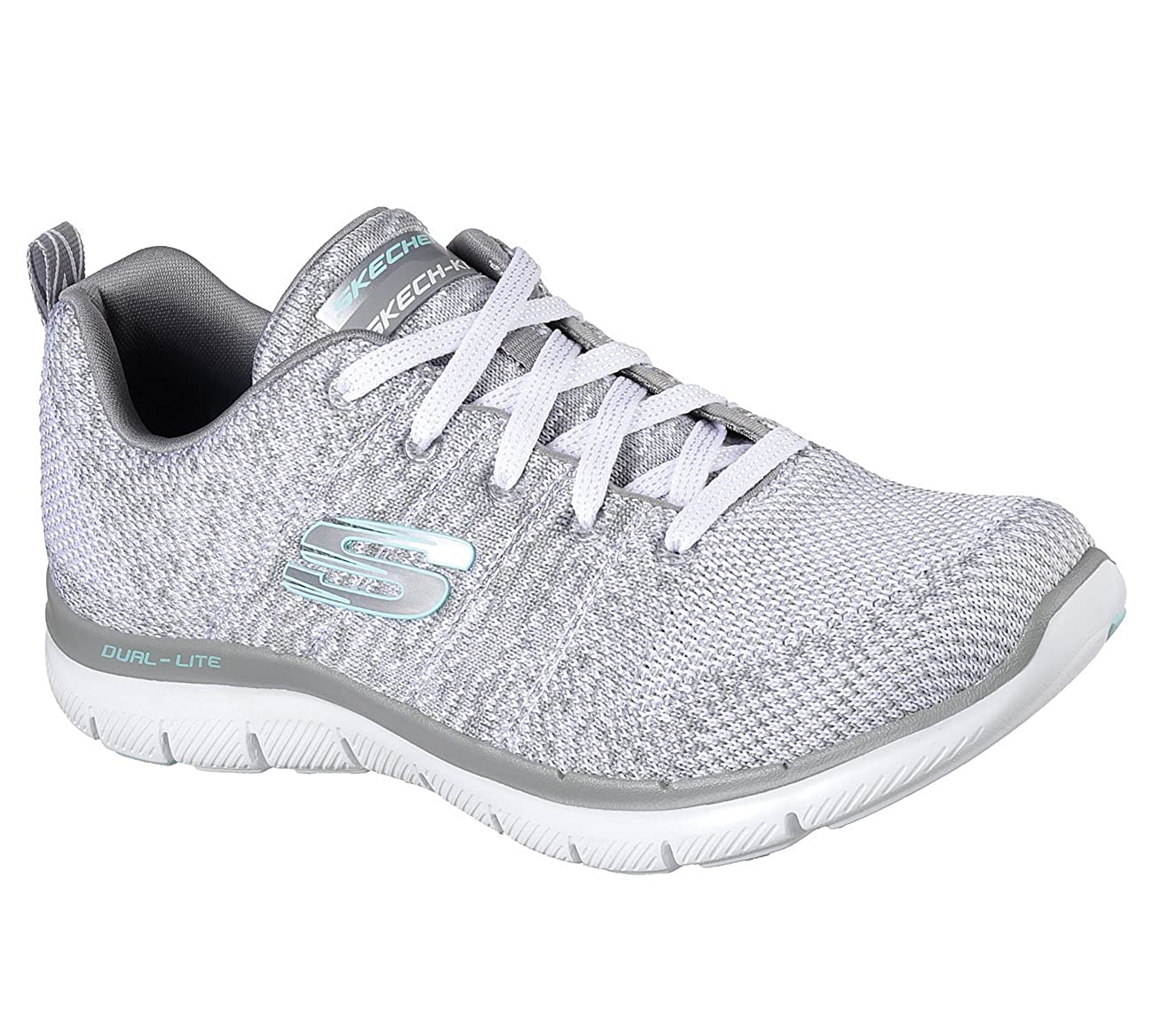 Blanc gris Skechers Flex Appeal 2.0 High Energy, paniers Basses Femme