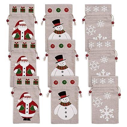 LUTER Navidad Bolsitas de Regalos Pequeñas Saco Yute Bolsa Arpillera Lino Bolsas de Tela Saquitos de Regalo con Cordones para Niños, Dulces, Bombones, ...