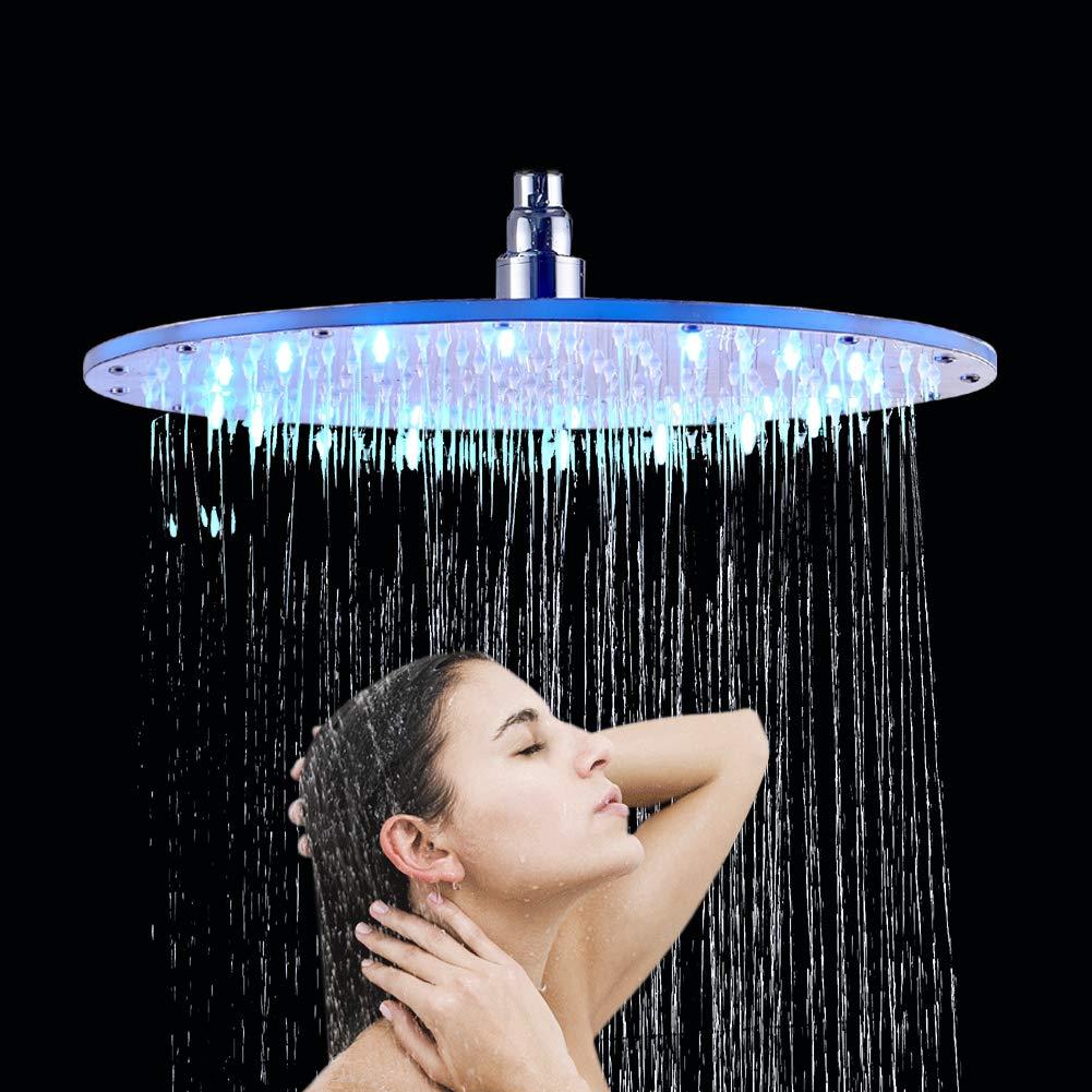 Rozin Pommeau de douche rond /à LED chrom/é Diam/ètre 40 cm Contr/ôle 3 couleurs Changement deau Flow Powered Laiton et caoutchouc