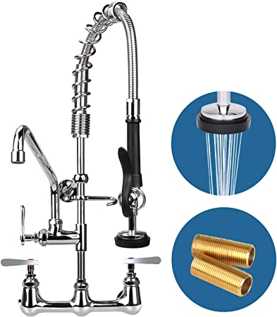 """12/"""" Wall Mount Commercial Pre-Rinse Faucet Kitchen Pull Out Down Sink w// Sprayer"""