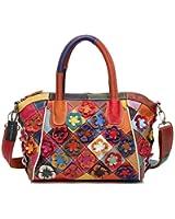 Greeniris Womens Handbag Ladies Floral Soft Genuine Leather Handbags Colorful Plaid Hobo Shoulder Bag Travel Totes