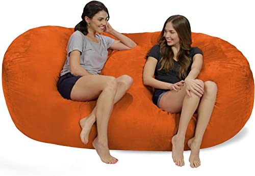 Chill Sack Bean Bag Chair Huge 7.5 Memory Foam Furniture Bag and Large Lounger – Big Sofa with Soft Micro Fiber Cover – Orange