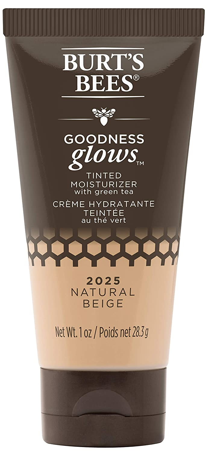 Burt's Bees Goodness Glows Tinted Moisturizer, Rich in Antioxidants, Natural Beige, 1.0 Ounce