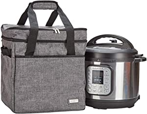 HOMEST Travel Bag for Instant Pot Pressure Cooker 8 Quart, Tote Carrying Case with Foil Liner, Easy to Clean, Grey (Patent Pending)