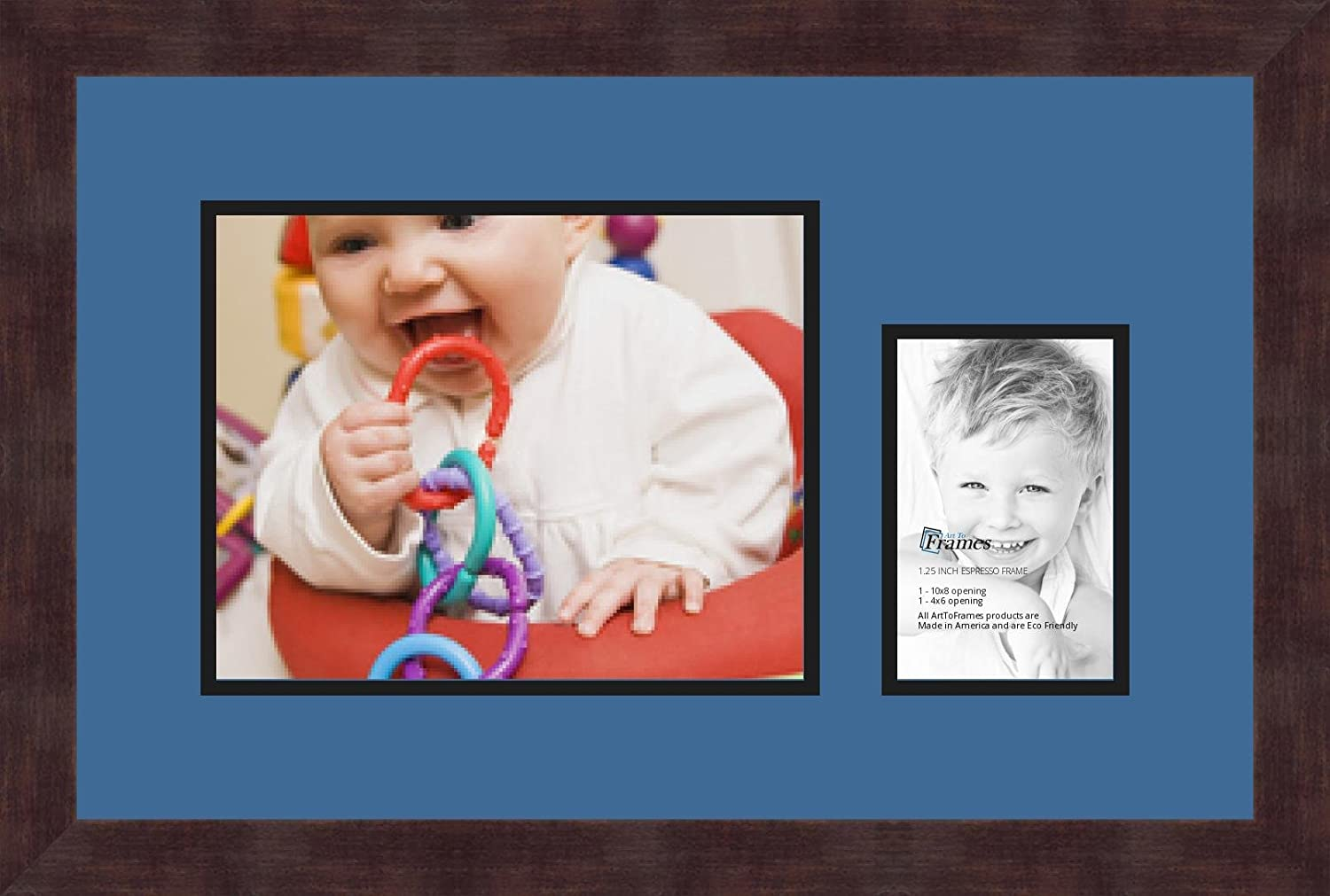 Art to Frames Double-Multimat-198-817//89-FRBW26061 Collage Frame Photo Mat Double Mat with 1-8x10 and 1-4x6 Openings and Espresso Frame