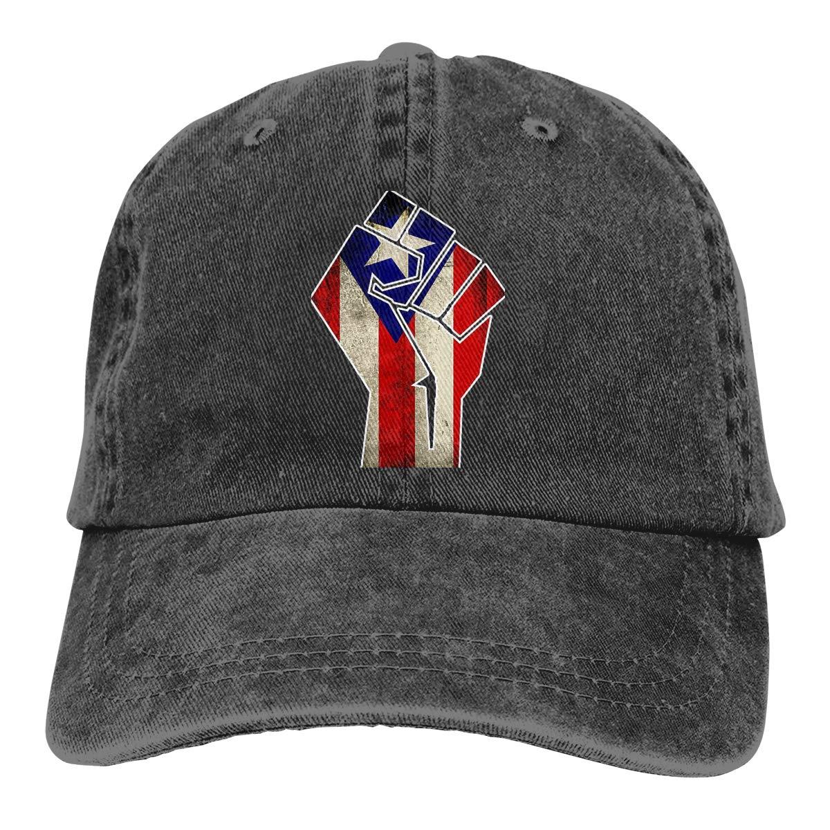 Men Women Puerto Rican Flag Inside Grunge Fist Vintage Washed Dad Hat Cool Adjustable Baseball Cap