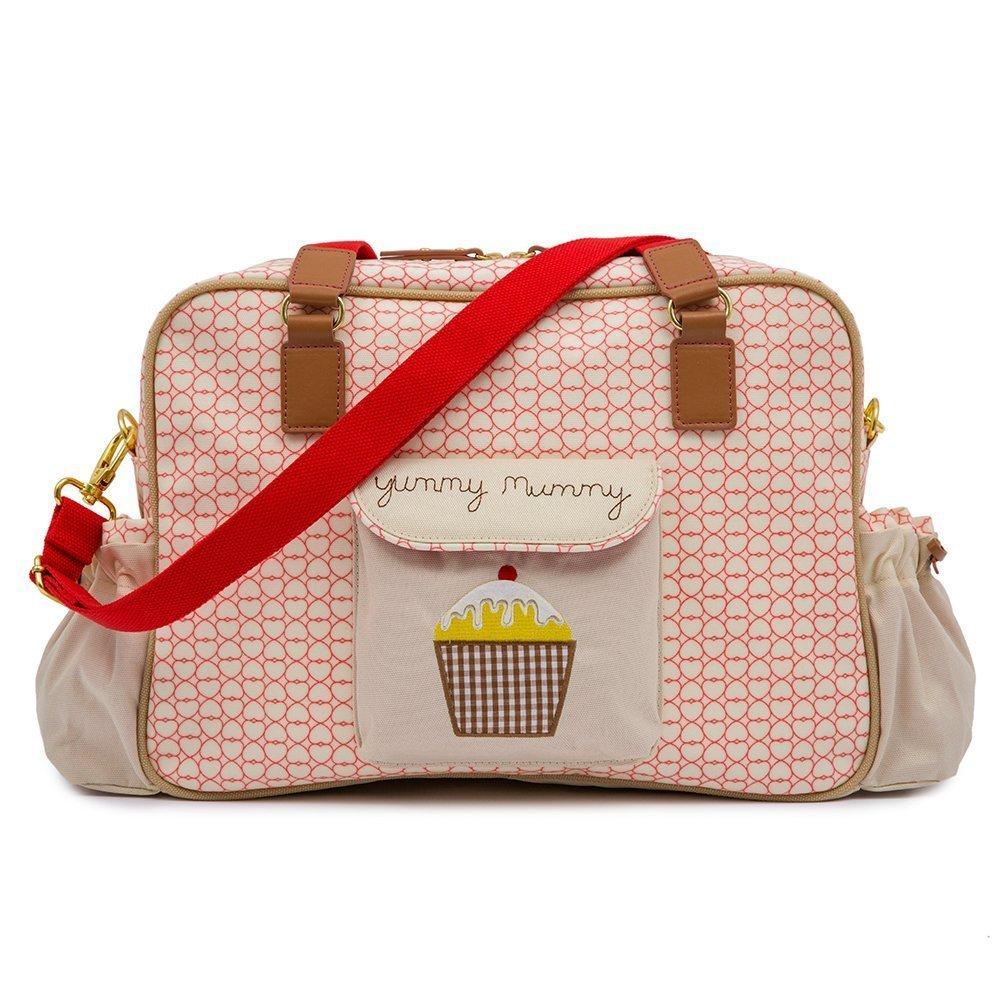 Yummy Mummy Stylish Nursery Changing Bag - True Love Design - Includes Travel Changing Mat Cupcake Design Pink Lining
