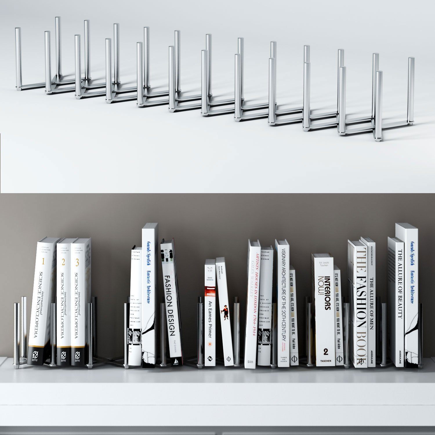 "Adjustable Book Holder Bookend 11 Sections Extends up to 39"" Length Stainless Steel Unique Design"