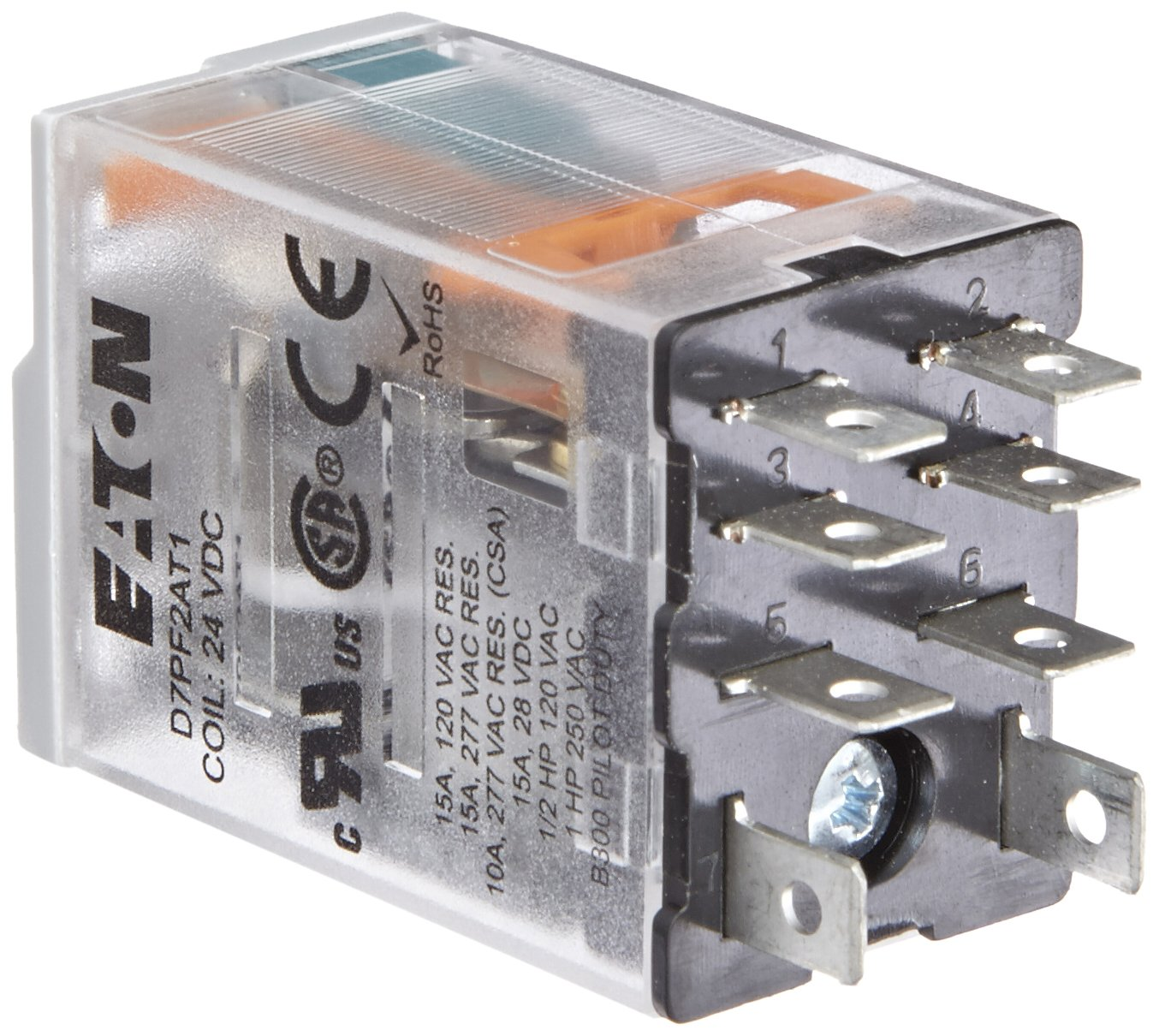 Eaton D7pf2at1 General Purpose Relay 15a Rated Current Dpdt Nc Spst 8211 Normally Closed Contact Configuration 24vdc Coil Voltage 650ohm Resistance Electronic Relays
