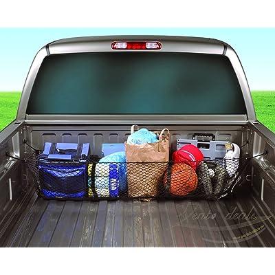 Zento Deals Black Mesh Three Pocket Trunk Cargo Organizer Storage Net: Automotive